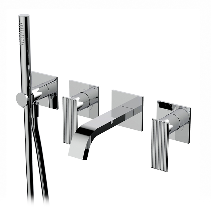 Wallmount tub filler with handshower