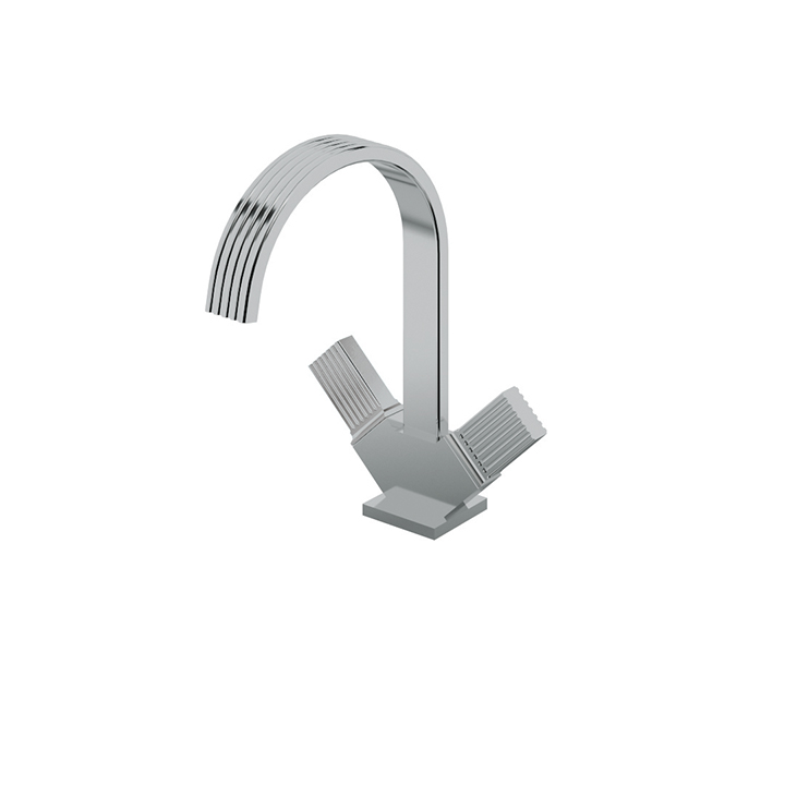 Single-hole lavatory faucet with two handles