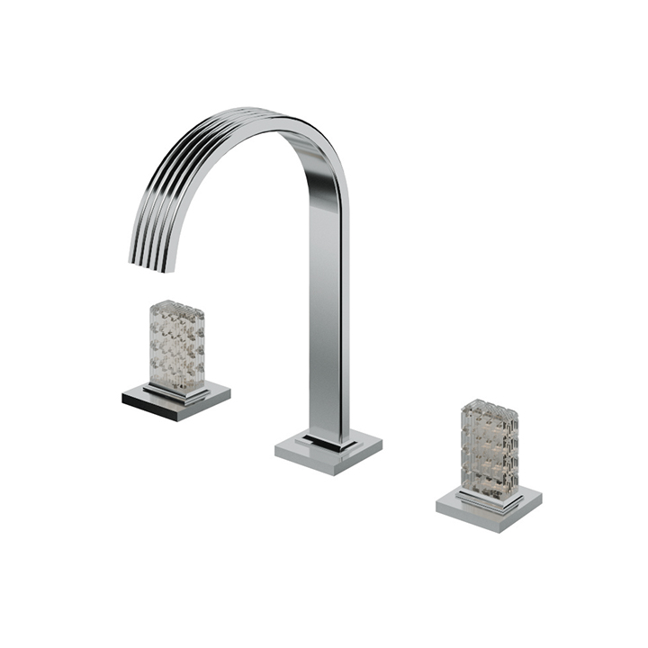 Widespread lavatory faucet with crystal handles