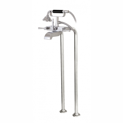 Cradle tub filler with handshower and floor risers