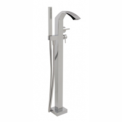 Floormount tub filler with handshower with crystals