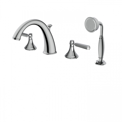 4-piece deckmount tub filler with handshower