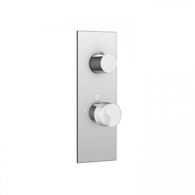 Marmo plate and handle trim set with 3-way diverter for TURBO thermostatic valve #T12123 (shared functions)