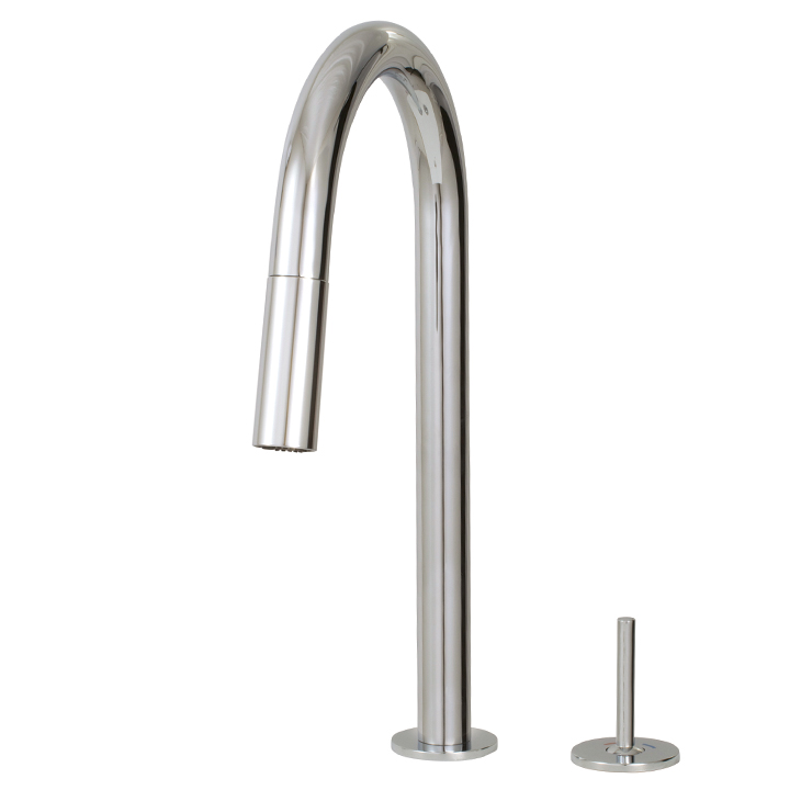 Pull-down dual stream mode kitchen faucet with side joystick