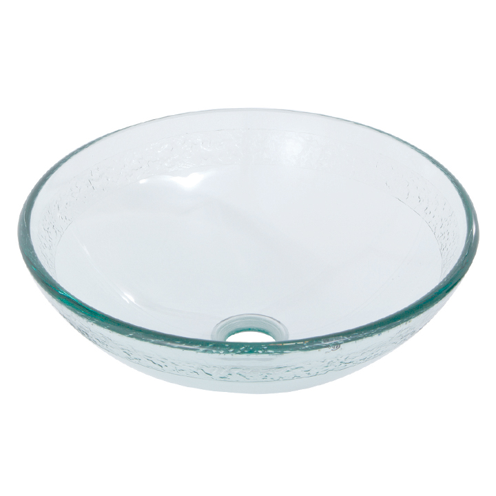 Round frosted & sculptured tempered glass basin