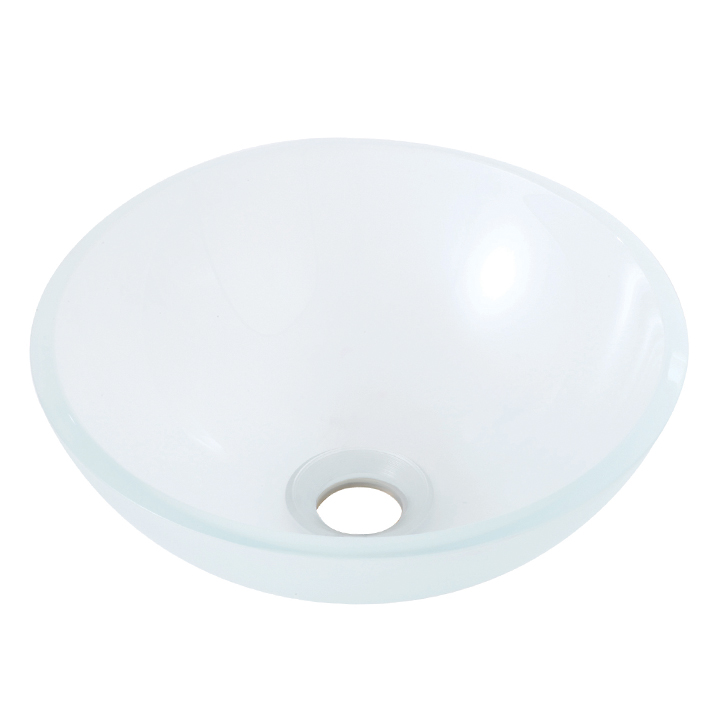 Round crystal frosted tempered glass basin