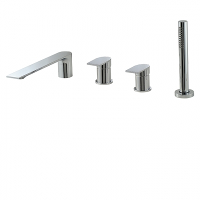 Deckmount tub filler with handshower and 2 mixers
