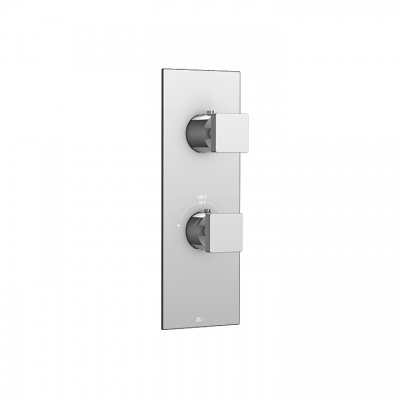 Square trim set for TURBO thermostatic valve #T12123, 3-way, shared functions